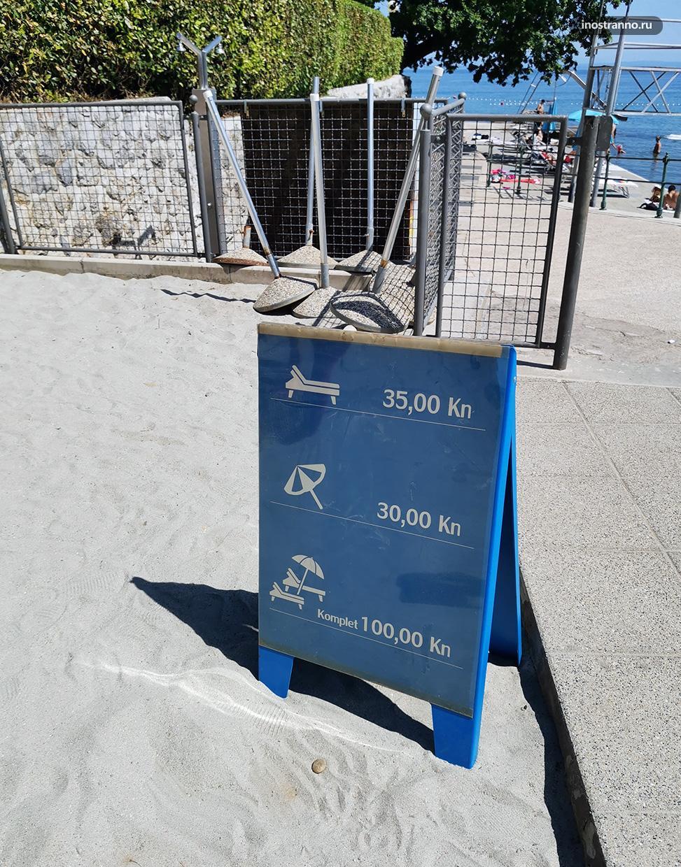 Цена на зонтики и шезлонги в Хорватии