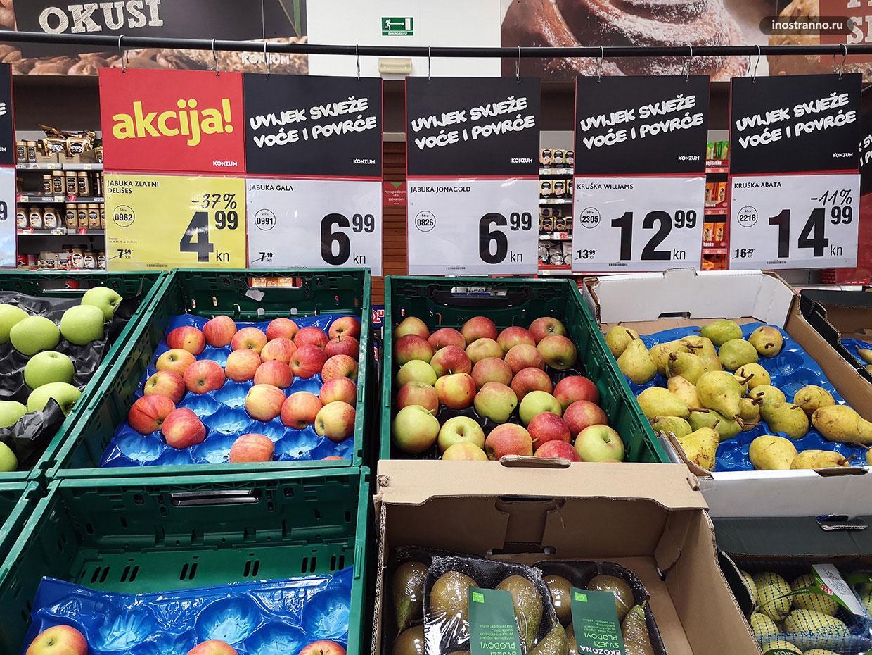 Цены на фрукты и овощи в Хорватии