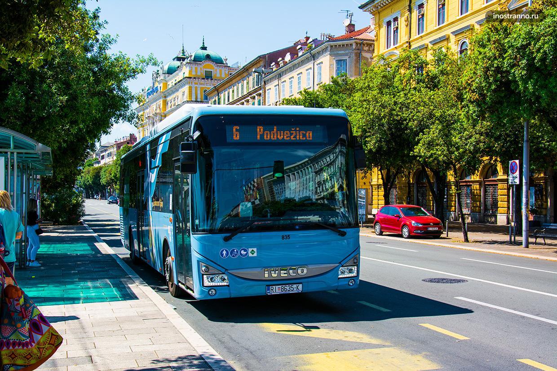 Общественный транспорт в хорватском городе Риека